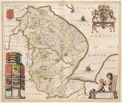 Lot 4-Blaeu (J.), Maps of Lincolnshire, Norfolk and Yorkshire, circa 1645