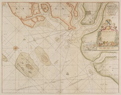 Lot 14-Collins (Capt. Greenville). Three sea charts, circa 1720