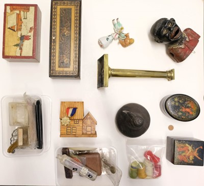 Lot 24-Mixed Collectables. A Victorian silhouette on glass and other items