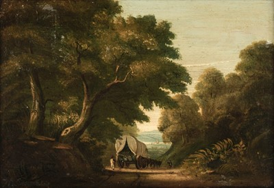 Lot 369-English School. Rural Landscape with figures and covered wagon on a track