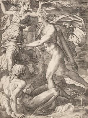 Lot 374-Caraglio (Gian Giacomo Karalis, circa 1505-1565). Apollo and Daphne