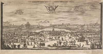 Lot 381-Della Bella (Stefano, 1610-1664). La Perspective du Pont Neuf de Paris, 1646