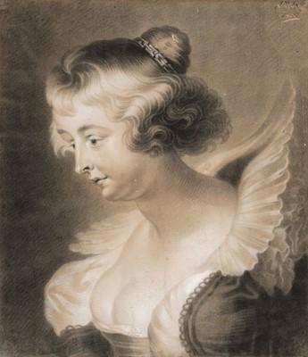 Lot 351-Van Balen (Jan, circa 1611-1654). Portrait of Helena Fourment, black and white chalk