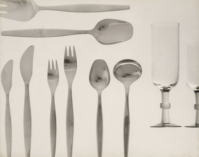 Lot 47-Glassware & Cutlery. A portfolio of 14 large gelatin silver print photographs, 1960s