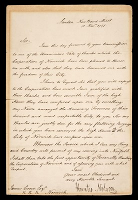 Lot 18 - Nelson (Horatio, 1758-1805), A good Letter Signed, 'Horatio Nelson', 11 November 1797