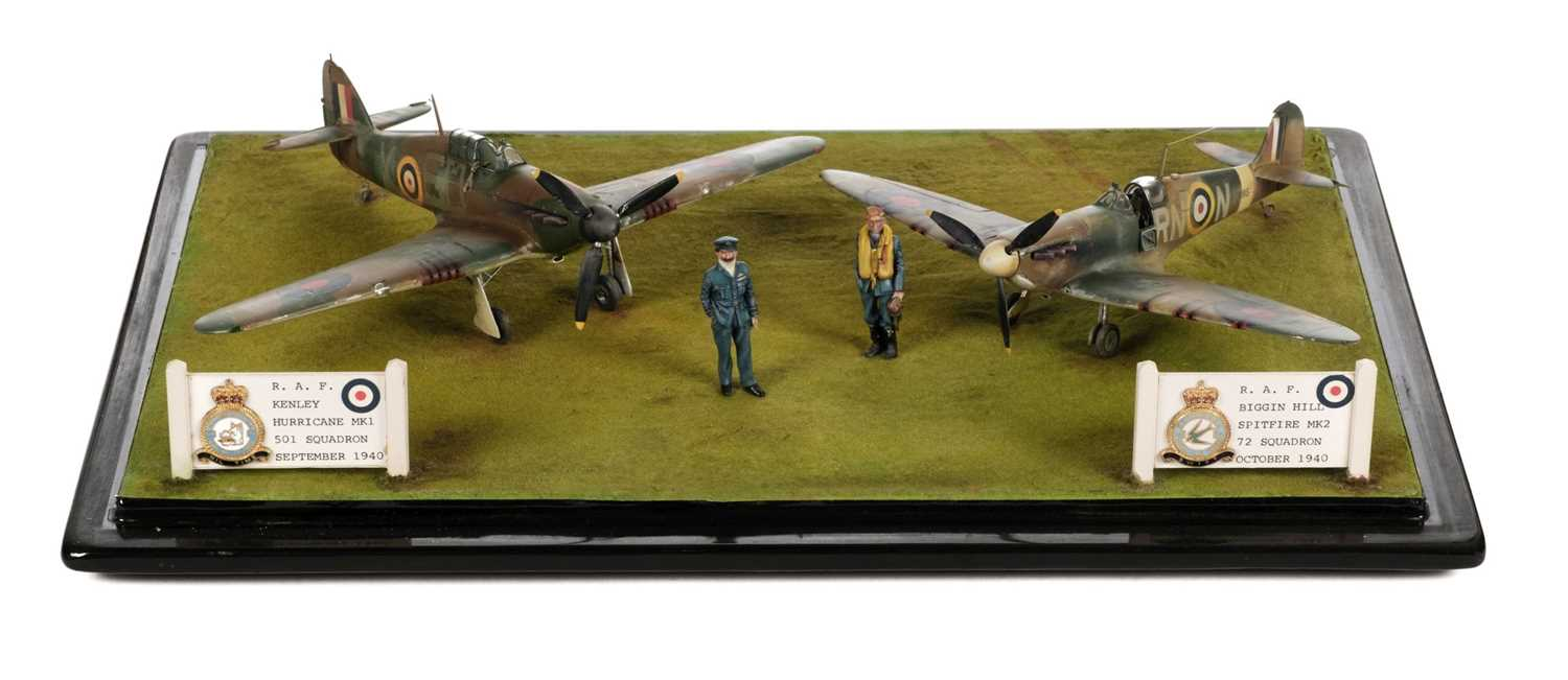 Lot 30 - Battle of Britain. A fine WWII airfield diorama by Dennis Green circa 1990s