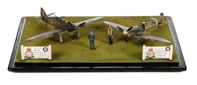 Lot 30-Battle of Britain. A fine WWII airfield diorama by Dennis Green circa 1990s