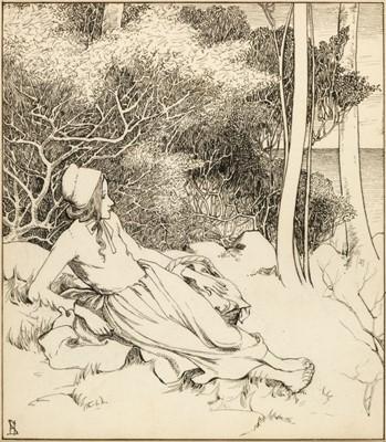 Lot 499 - Stratton (Helen, 1867-1961). Peasant girl in a landscape, circa 1900