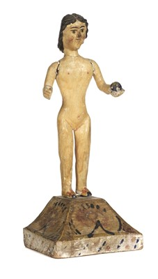 Lot 480 - Dolls. A primitive wooden doll on plinth, possibly South American, 19th century