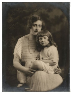 Lot 36-Christie (Agatha, 1890-1976). Portrait of Agatha Christie and her young daughter Rosalind, 1923