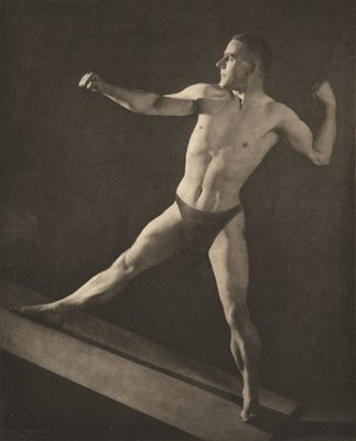 Lot 40-Drtikol (Frantisek). A rare study of a male nude in athletic pose [Dr A. Wood Smith], 1930s