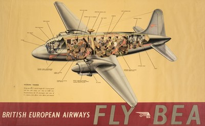 Lot 35-British European Airways. A FLY BEA colour poster circa 1950