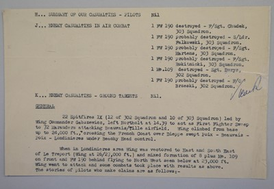 Lot 29 - Battle of Britain. A Combat Report dated 15 October 1940