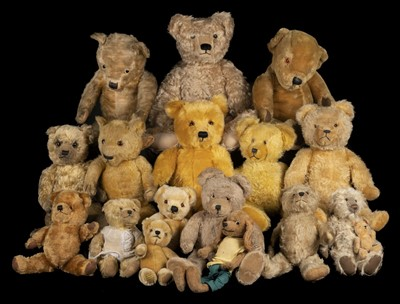 Lot 485 - Teddy Bears. A Chiltern teddy bear, 1930s, & others