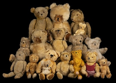 Lot 487 - Teddy Bears. An early teddy bear, probably British, 1930s, & others