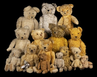 Lot 488 - Teddy Bears. An early teddy bear, probably British, 1930s, & others
