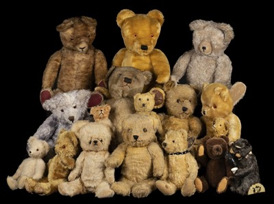 Lot 489 - Teddy Bears. An early teddy bear, probably British, 1930s, & others