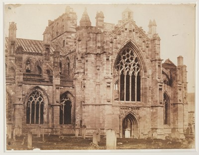 Lot 1-British School. Two views of Melrose Abbey, c. 1850, salted paper print