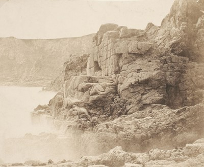 Lot 28-Sutton (Thomas, 1819-1875). Rocks and waves, Jersey, 1854, Blanquart-Evrard process print