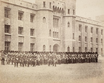 Lot 11-Attributed to Roger Fenton (1816-1869). The Coldstream Guards outside the Tower of London