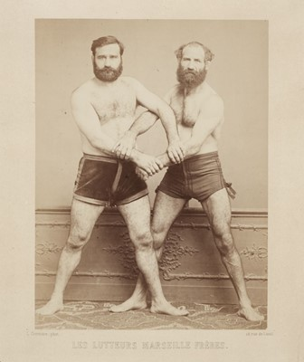 Lot 4-Cremiere (Leon). Two portraits of the Greco-Roman wrestlers, the Marseille brothers, 1860s