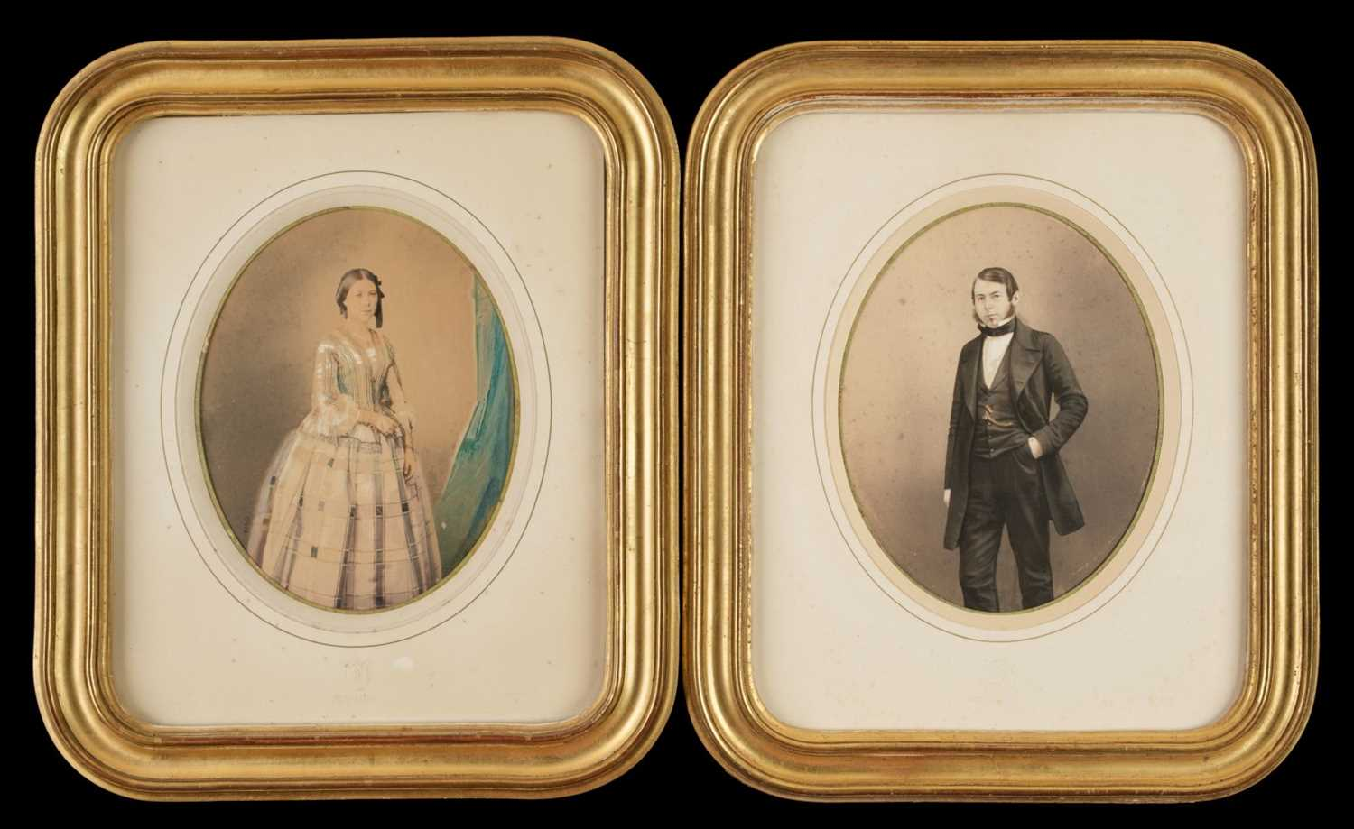 Lot 19-Mayer (Ernest & Pierson). A pair of colour-tinted salt prints of a young man and woman, c. 1855