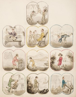 Lot 475 - Trades & Pastimes. A collection of leaves with hand-drawn illustrations, circa 1832