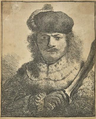 Lot 346 - Rembrandt (Harmensz Van Rijn, 1606-1669). Self-Portrait with Raised Sabre, 1634