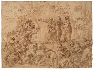 Lot 330 - Romanelli (Giovanni Francesco, 1610-1662, attributed to). Moses striking water from the rock