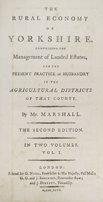 Lot 50 - Marshall (William). The Rural Economy of Yorkshire, 2 volumes, 2nd edition, 1796