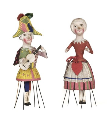Lot 479 - Dolls. A pair of rare Docken dolls, Germany, mid 19th century