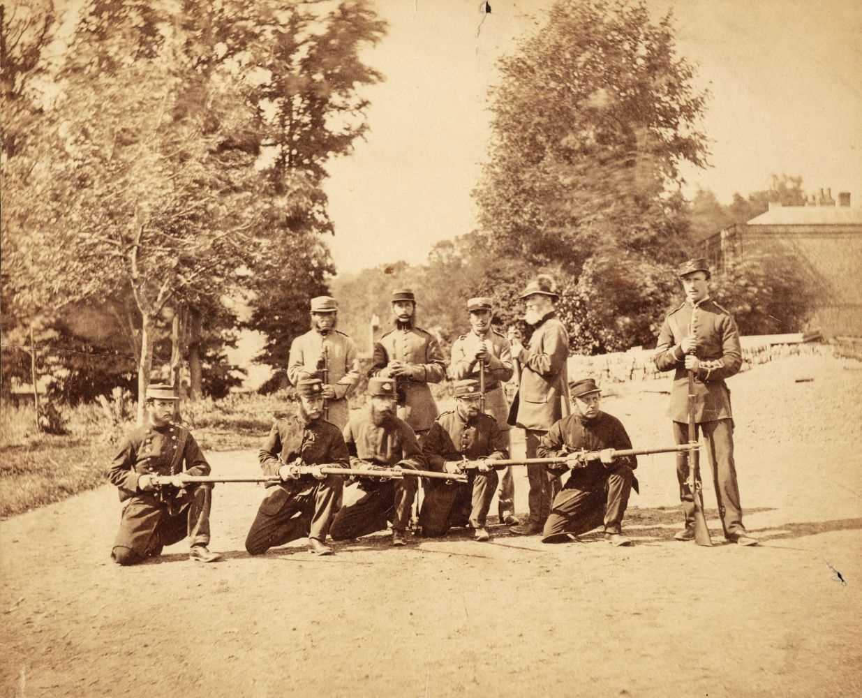 Lot 3 - American Civil War. Two albumen print photographs of Union Army soldiers, c.1861-5