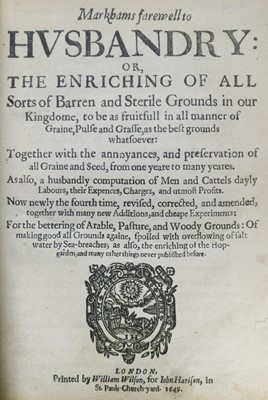 Lot 49 - Markham (Gervase). Markhams farewell to Husbandry, 1649