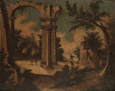 Lot 303 - Italian School. A pair of Capriccio landscapes