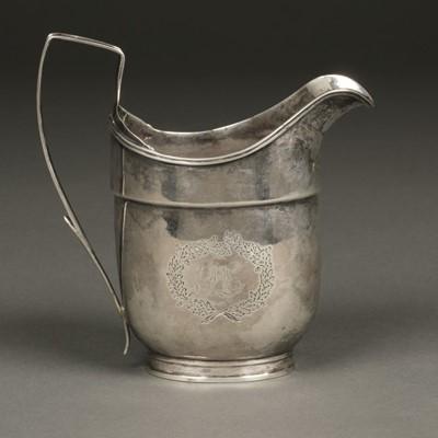 Lot 13 - American Silver. Silver milk jug by Robert Evans, Boston circa 1800