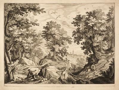 Lot 348 - Sadeler (Johannes, I, 1550-1600). Landscape with a rabbit hunt and others
