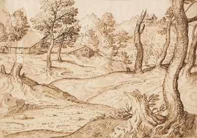 Lot 342 - Grimaldi (Giovan Francesco, Il Bolognese, 1606-1680). Landscape with rustic buildings