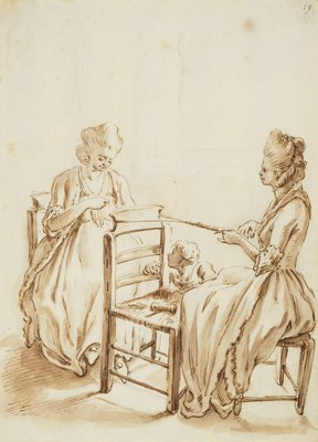 Lot 305 - Andriessen (Anthonie, 1746-1813). Two ladies seated with a young child looking on