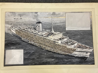 Lot 303 - Davis (G. H. 1881 - 1963). Cross-sectional drawing of a liner, 1954