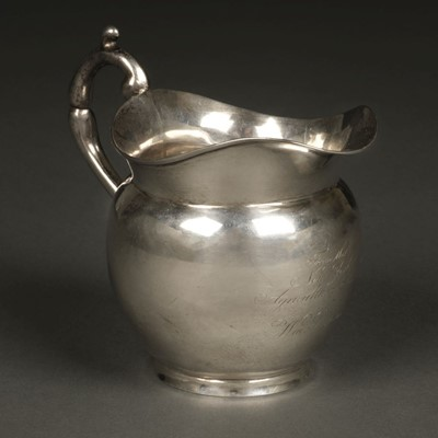 Lot 12 - American Silver. Presentation milk jug by John Crawford, New York circa 1815