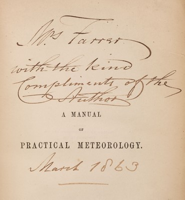 Lot 13 - FitzRoy (Robert). The Weather Book, 2nd edition, 1863, presentation copy