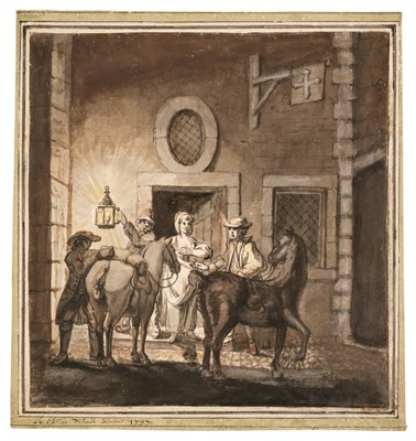 Lot 318 - French School. Travellers arriving outside a hostelry at night, 1777