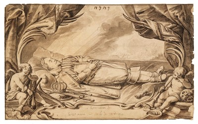 Lot 313 - Dorigny (Louis, 1654–1742). Saint Francis of Assisi, pen and ink, plus one other