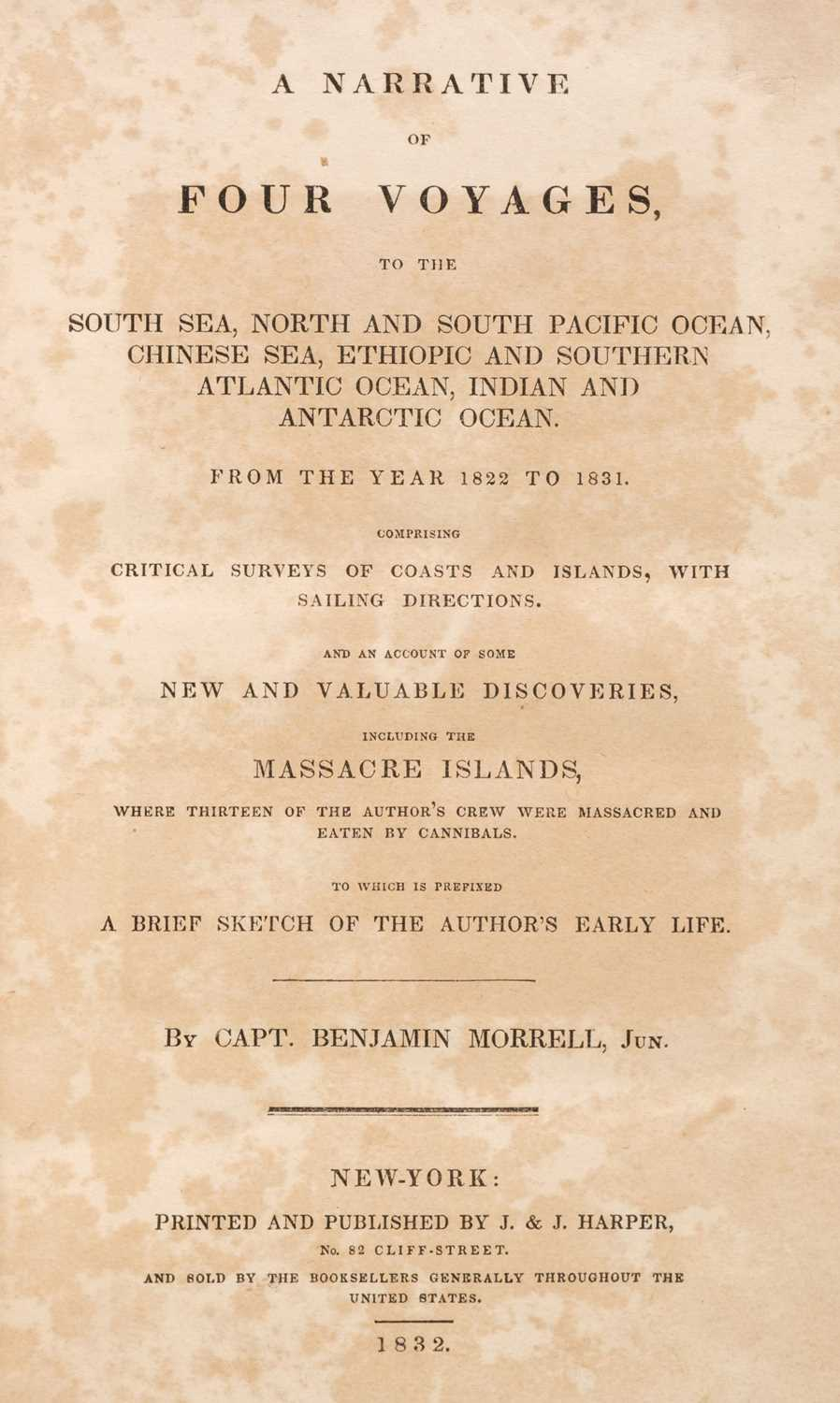 Lot 20 - Morrell (Benjamin). A Narrative of Four Voyages, 1st edition, 1832