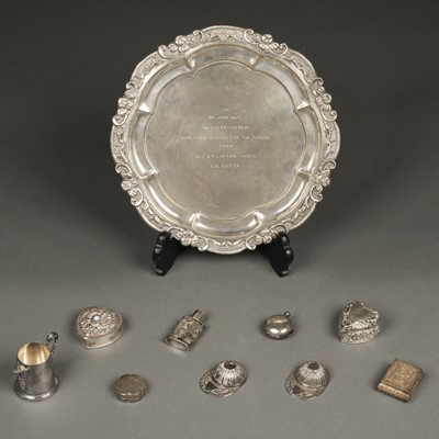 Lot 34 - Mixed Silver. A modern silver salver circa 1970s and other items
