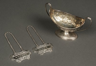 Lot 32 - Mixed Silver. A George III silver two handle salt by Henry Chawner