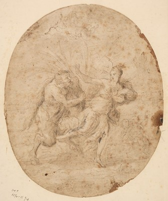 Lot 27 - Roman School. Nymph chased by a Satyr, early 17th century, pen and brown ink