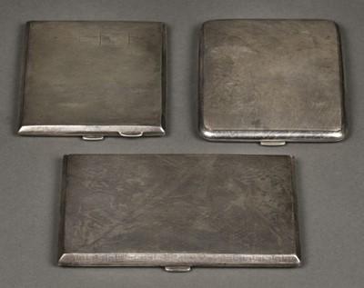 Lot 21 - Cigarette Cases. 3 silver cigarette cases
