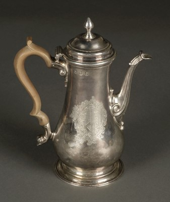 Lot 22 - Coffee Pot. George III silver coffee pot by T. Whipham & C. Wright , London 1761