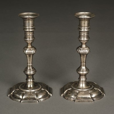 Lot 19 - Candlesticks. A pair of 18th century silver candlesticks